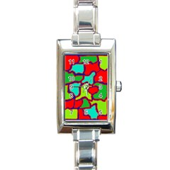 Colorful abstract design Rectangle Italian Charm Watch