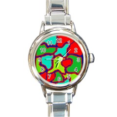 Colorful abstract design Round Italian Charm Watch