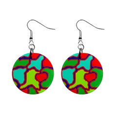 Colorful abstract design Mini Button Earrings