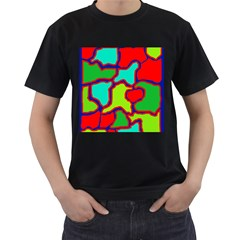 Colorful abstract design Men s T-Shirt (Black) (Two Sided)