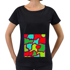 Colorful abstract design Women s Loose-Fit T-Shirt (Black)