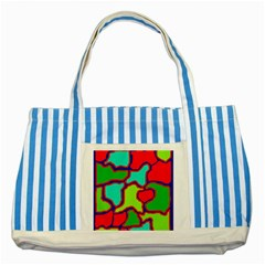 Colorful abstract design Striped Blue Tote Bag