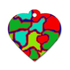 Colorful abstract design Dog Tag Heart (Two Sides)