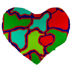 Colorful abstract design Large 19  Premium Heart Shape Cushions
