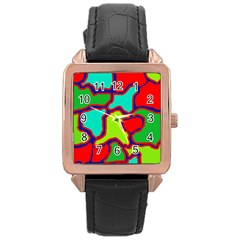 Colorful abstract design Rose Gold Leather Watch