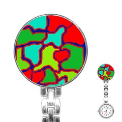 Colorful abstract design Stainless Steel Nurses Watch