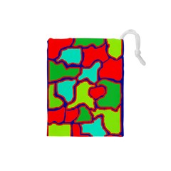 Colorful abstract design Drawstring Pouches (Small)