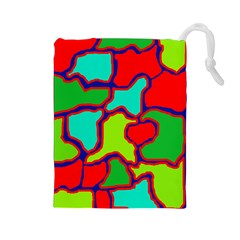 Colorful abstract design Drawstring Pouches (Large)