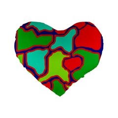 Colorful abstract design Standard 16  Premium Flano Heart Shape Cushions