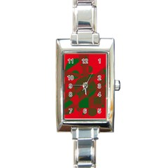 Red and green abstract design Rectangle Italian Charm Watch