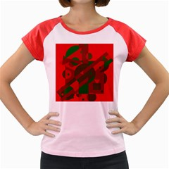 Red and green abstract design Women s Cap Sleeve T-Shirt