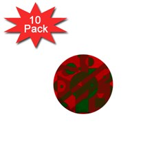 Red and green abstract design 1  Mini Buttons (10 pack)
