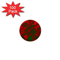 Red and green abstract design 1  Mini Buttons (100 pack)