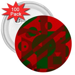 Red and green abstract design 3  Buttons (100 pack)