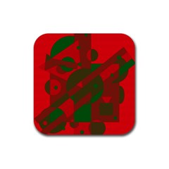 Red and green abstract design Rubber Square Coaster (4 pack)