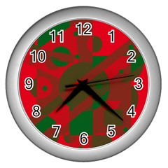 Red and green abstract design Wall Clocks (Silver)