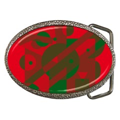 Red and green abstract design Belt Buckles