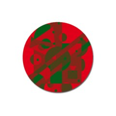 Red and green abstract design Magnet 3  (Round)