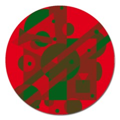 Red and green abstract design Magnet 5  (Round)