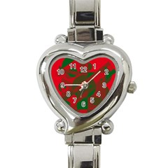 Red and green abstract design Heart Italian Charm Watch