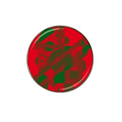 Red and green abstract design Hat Clip Ball Marker (4 pack)