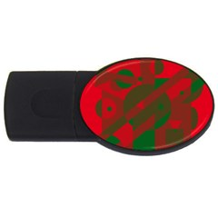 Red and green abstract design USB Flash Drive Oval (4 GB)