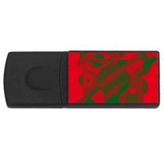 Red and green abstract design USB Flash Drive Rectangular (4 GB)