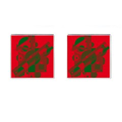 Red and green abstract design Cufflinks (Square)