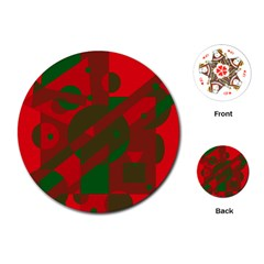 Red and green abstract design Playing Cards (Round)