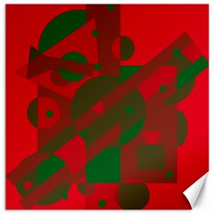 Red and green abstract design Canvas 20  x 20