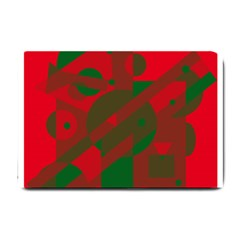 Red and green abstract design Small Doormat