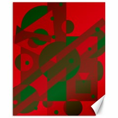 Red and green abstract design Canvas 11  x 14