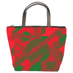 Red and green abstract design Bucket Bags