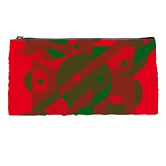 Red and green abstract design Pencil Cases