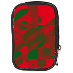 Red and green abstract design Compact Camera Cases