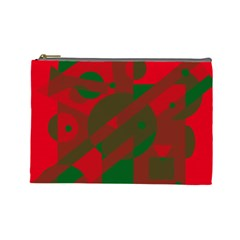 Red and green abstract design Cosmetic Bag (Large)