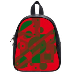 Red and green abstract design School Bags (Small)