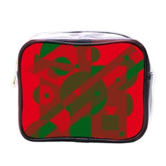 Red and green abstract design Mini Toiletries Bags