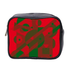 Red and green abstract design Mini Toiletries Bag 2-Side