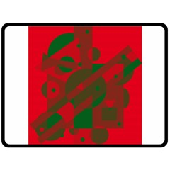 Red and green abstract design Fleece Blanket (Large)