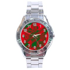 Red and green abstract design Stainless Steel Analogue Watch
