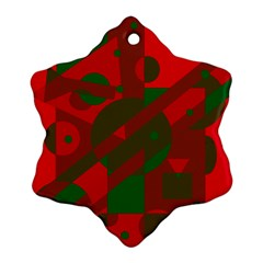 Red and green abstract design Snowflake Ornament (2-Side)