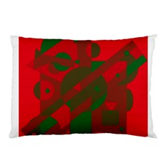 Red and green abstract design Pillow Case (Two Sides)