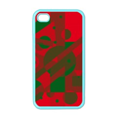 Red and green abstract design Apple iPhone 4 Case (Color)