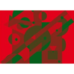 Red and green abstract design Birthday Cake 3D Greeting Card (7x5)