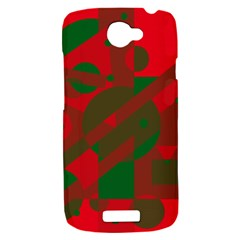 Red and green abstract design HTC One S Hardshell Case