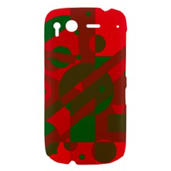 Red and green abstract design HTC Desire S Hardshell Case