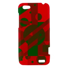 Red and green abstract design HTC One V Hardshell Case