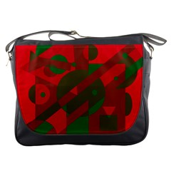 Red and green abstract design Messenger Bags