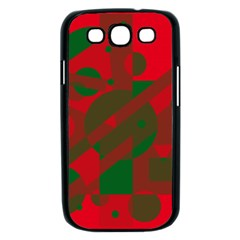 Red and green abstract design Samsung Galaxy S III Case (Black)